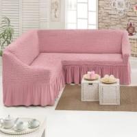 Чехол для мебели на угловой диван 2+3 посадочных мест грязно-розовый M-04