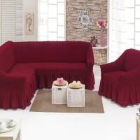 Чехол на угловой диван и одно кресло бордовый ML-07