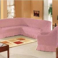 Набор универсальных натяжных чехлов на угловой диван и одно кресло грязно розовый ML-15
