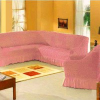 Набор универсальных натяжных чехлов на угловой диван и одно кресло светло розовый ML-14