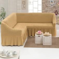 Чехол на угловой диван на резинке медовый M-22
