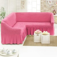 Чехол на угловой диван розовый M-19