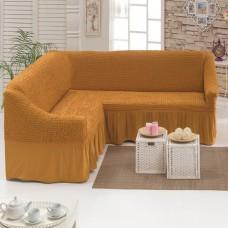 Чехол на угловой диван рыже коричневый M-17