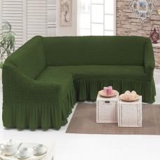 Чехол на угловой диван универсальный зеленый M-13