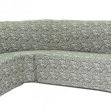 Чехол на угловой диван и кресло Жаккард Вензель, серый