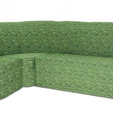 Чехол на угловой диван и кресло Жаккард Вензель, зеленый