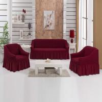 Чехол на диван и два кресла Турецкие бордовый S-10