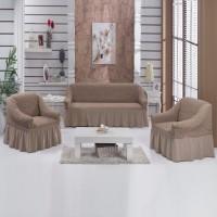 Чехол на диван и 2 кресла на резинке какао S-32