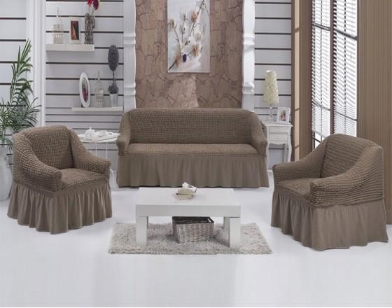 Комплект натяжных чехлов на диван и 2 кресла кофейный S-03