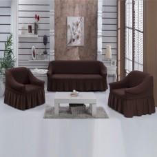 Комплект натяжных чехлов на диван и 2 кресла коричневый S-01