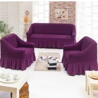 Чехол на диван и 2 кресла фиолетовый S-31