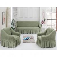 Комплект натяжных чехлов на диван и 2 кресла хаки S-24