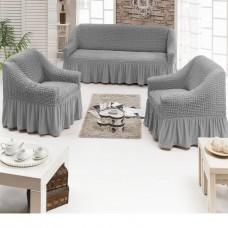 Чехол на диван и два кресла серый S-04