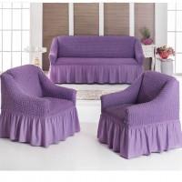 Чехол на диван и два кресла светло-сиреневый S-07