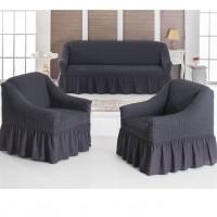 Чехол на диван и 2 кресла темно-серый S-26