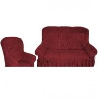 Чехол на диван и 2 кресла велюр бордовый S-64