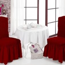 Комплект чехол на стул со спинкой, 2 шт. бордовые