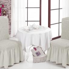 Комплект чехол на стул со спинкой, 2 шт. молочные