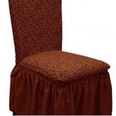 Комплект чехлов на стулья жаккард 4шт. Коричневый