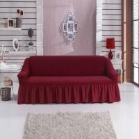 Чехол на диван трехместный бордовый W-11