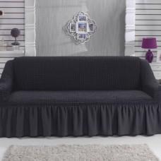 Натяжной чехол на двухместный диван темно-серый RT-12