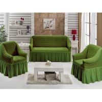 Чехол на диван и 2 кресла натяжные зеленый S-19