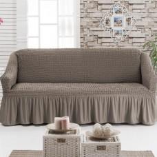 Чехол на диван двухместный на резинке кофейный RT-13