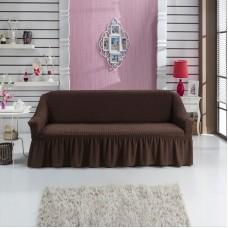 Чехол на трехместный диван с оборкой коричневый W-04