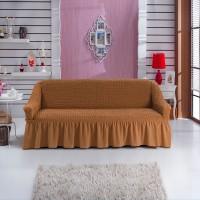 Чехол на трехместный диван натяжной рыже коричневый W-02