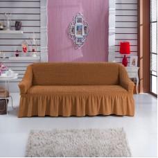 Чехол на диван двухместный универсальный с оборкой горчичный RT-03