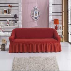 Чехол на диван двухместный на резинке с оборкой кирпичный RT-04