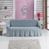 Универсальный чехол на трехместный  диван серый W-07