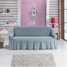 Чехол на двухместный диван на резинке серый RT-07