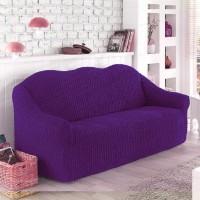 Чехол на диван трехместный без оборки фиолетовый O-101