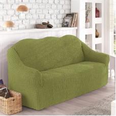 Чехол на диван трехместный без оборки фисташковый O-100