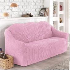 Чехол на диван трехместный без оборки розовый O-102