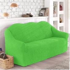 Чехол на диван трехместный без оборки салатовый O-103