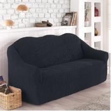 Чехол на диван трехместный без оборки темно-серый O-99