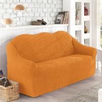 Чехол на диван трехместный без оборки ярко рыжий O-104