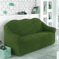 Чехол на диван трехместный без оборки зеленый O-97