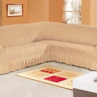 Чехол для мебели на угловой диван 2+3 посадочных мест бежевый M-01