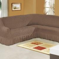Чехол на угловой диван кофейный M-07