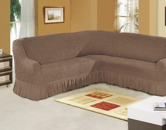 Чехол на угловой диван кофейный