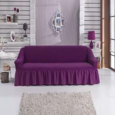 Чехол на трехместный диван с оборкой  фиолетовый W-13