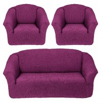 Чехол на диван и 2 кресла без оборки фиолетовый MC-07