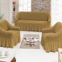 Чехол на диван и 2 кресла универсальные горчичный S-09