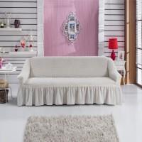 Чехол на диван трехместный кремовый W-09