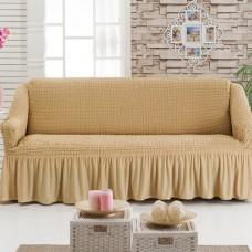 Чехол на трехместный диван  на резинке медовый W-17