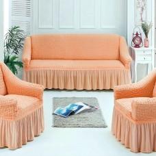 Чехлы на мягкую мебель на резинке персиковый S-30