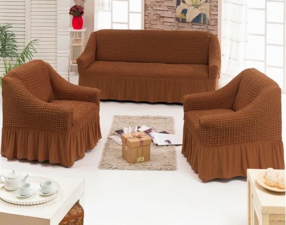 Комплект натяжных чехлов на диван и 2 кресла рыже-коричневый S-42